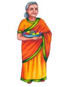 104895734-stock-illustration-indian-old-woman-elderly-woman-in-a-bright-yellow-orange-colored-national-traditional-sari-dress-wit